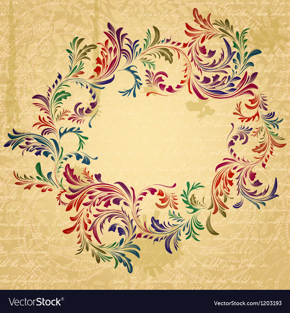 Antique bright floral frame on grungy parchment vector   Price: 1 Credit (USD $1)