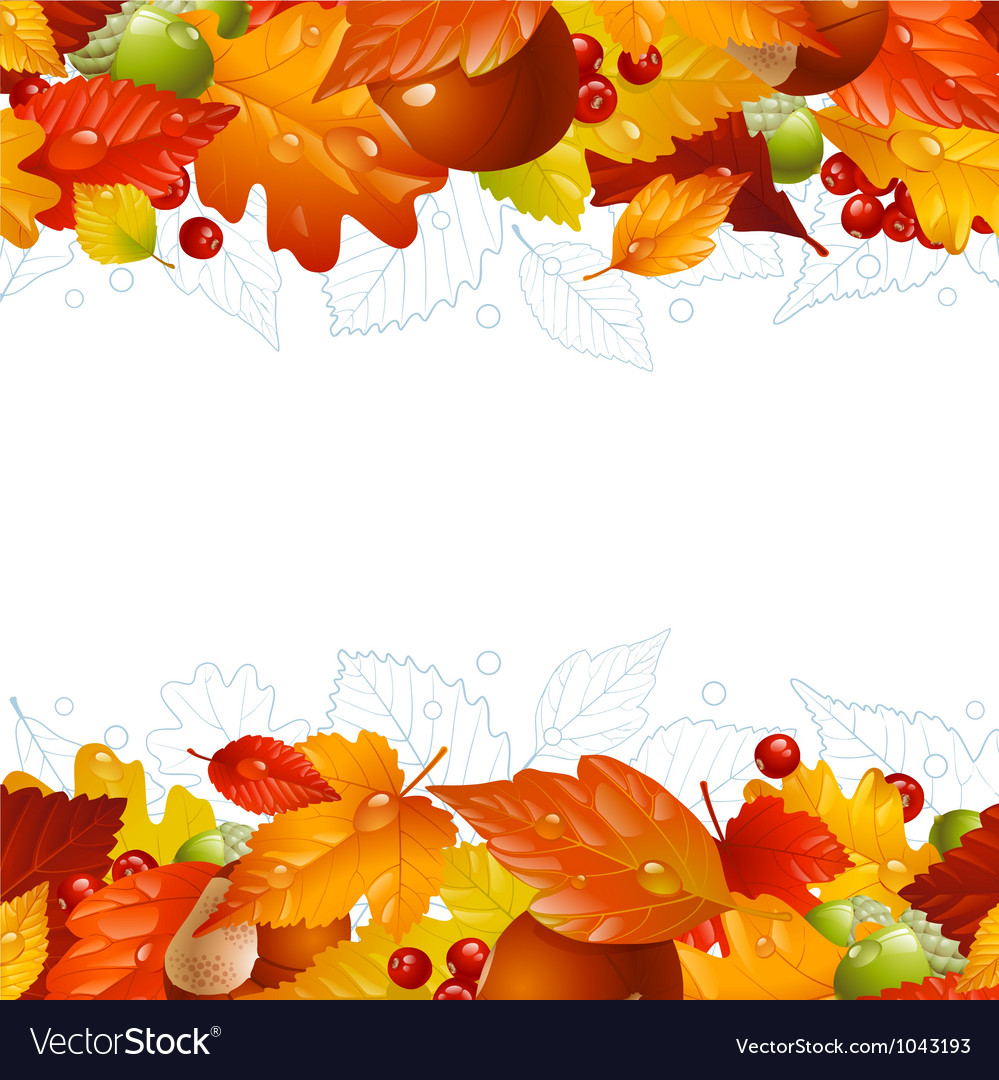 Autumn background with fall leaf vector | Price: 1 Credit (USD $1)