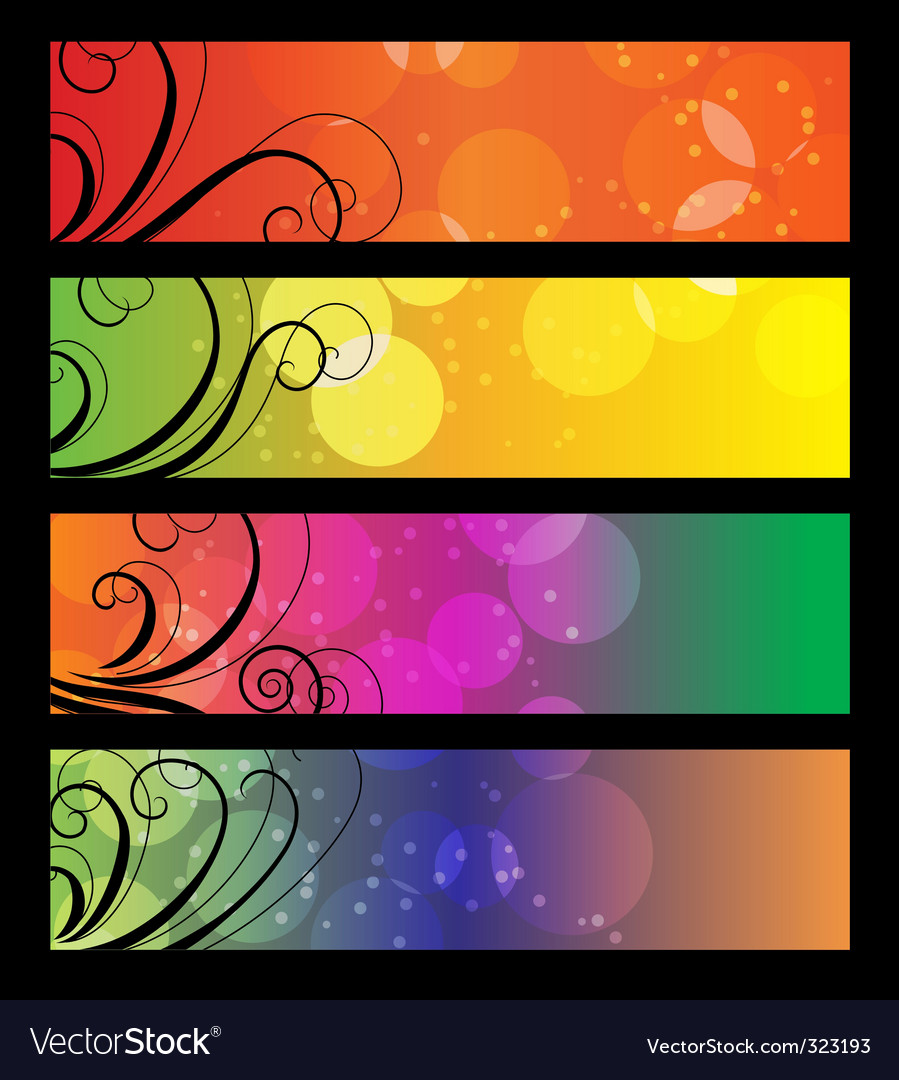 Banners headers with abstract lights vector | Price: 1 Credit (USD $1)
