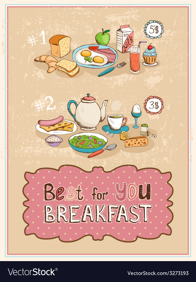 Best for you breakfast vintage poster design vector | Price: 1 Credit (USD $1)