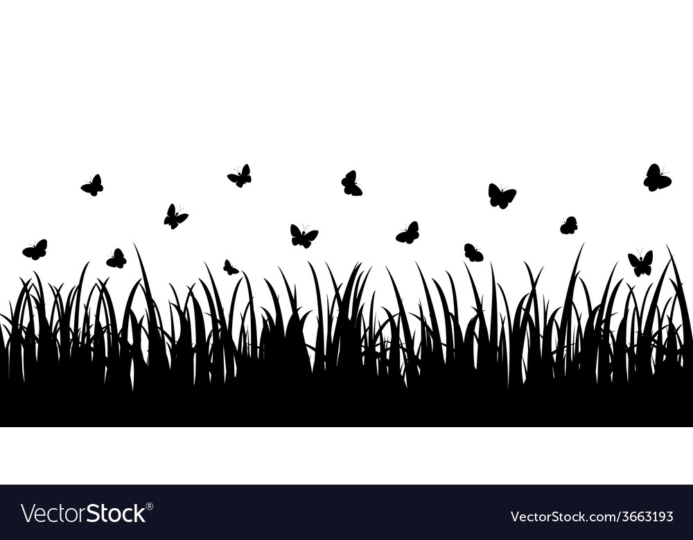 Butterflies over the grass seamless vector | Price: 1 Credit (USD $1)