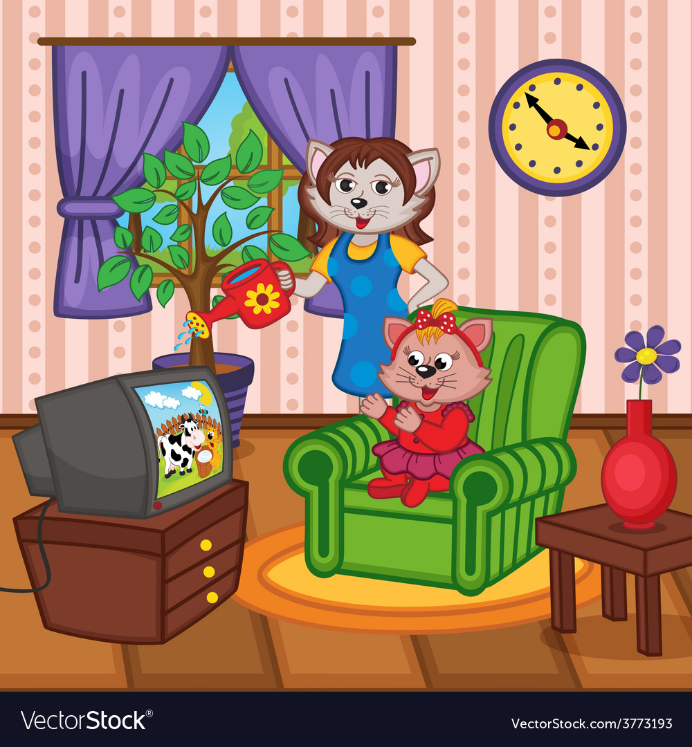 Mother cat watering flowers baby cat watching tv vector | Price: 3 Credit (USD $3)
