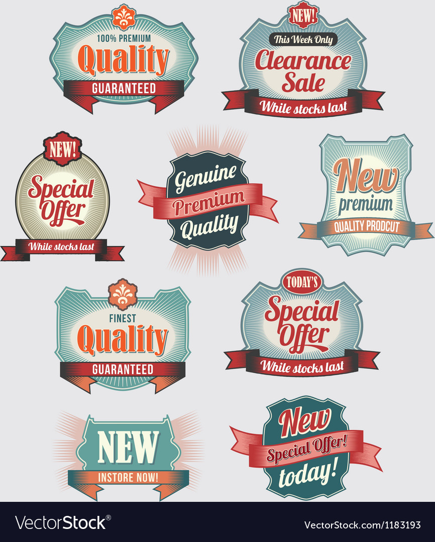 Premium quality and guarantee labels vector | Price: 1 Credit (USD $1)