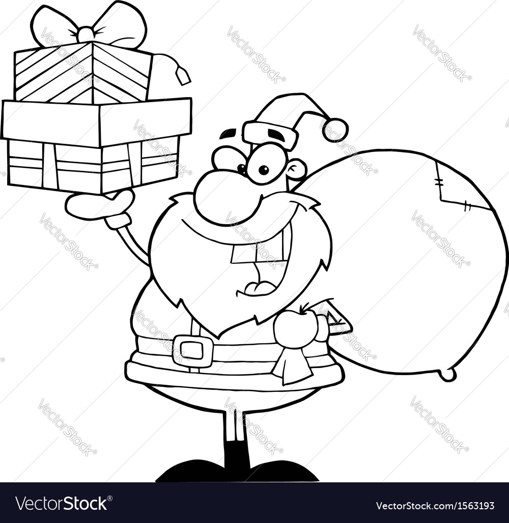 Royalty free rf clipart santa holding up a stack vector | Price: 1 Credit (USD $1)