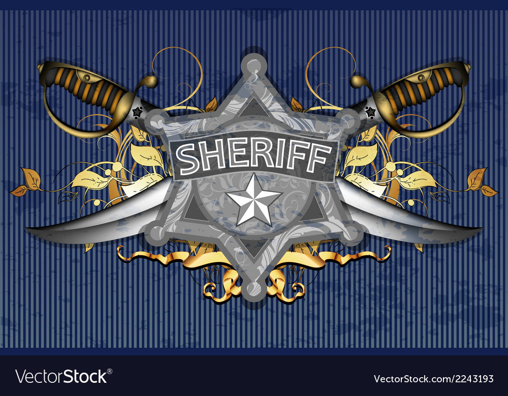 Sheriff star with sabers vector | Price: 1 Credit (USD $1)