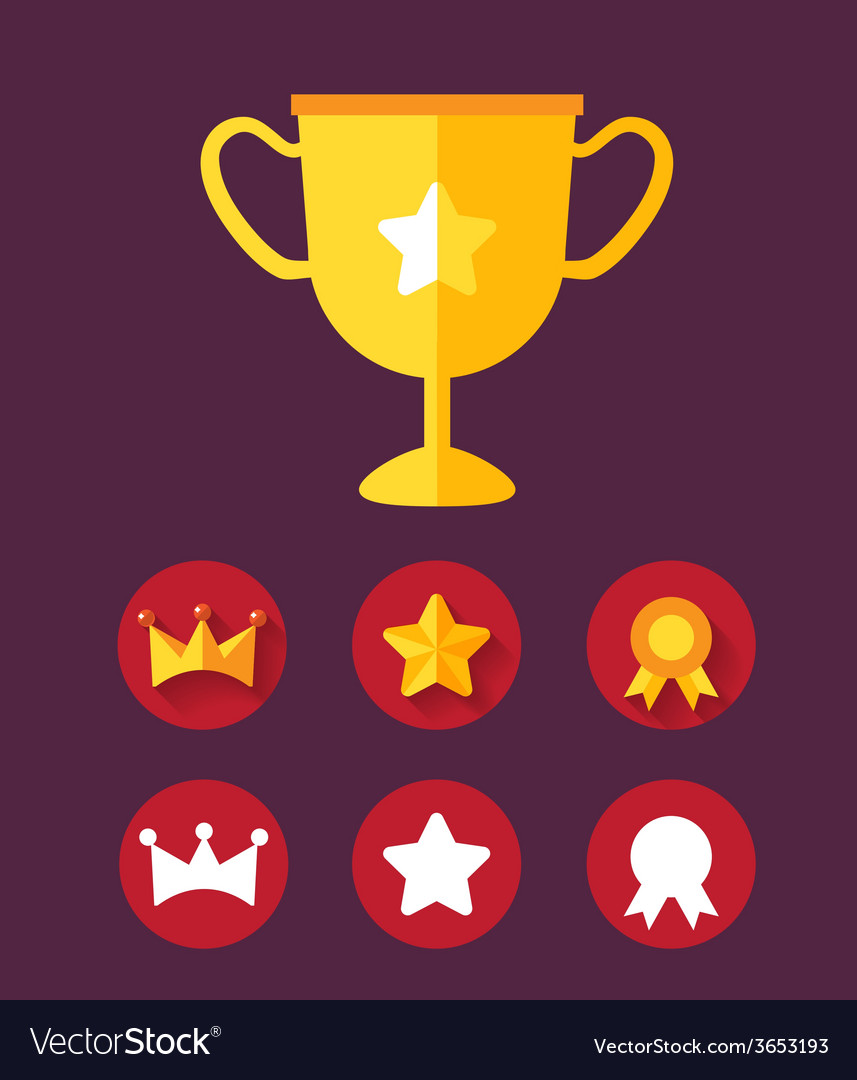 Trophy achievement game icon set vector | Price: 1 Credit (USD $1)