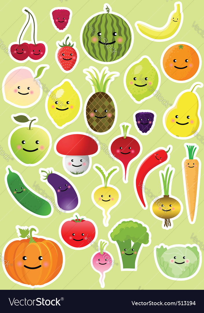 Collection of funny vegetables and fruit vector | Price: 1 Credit (USD $1)