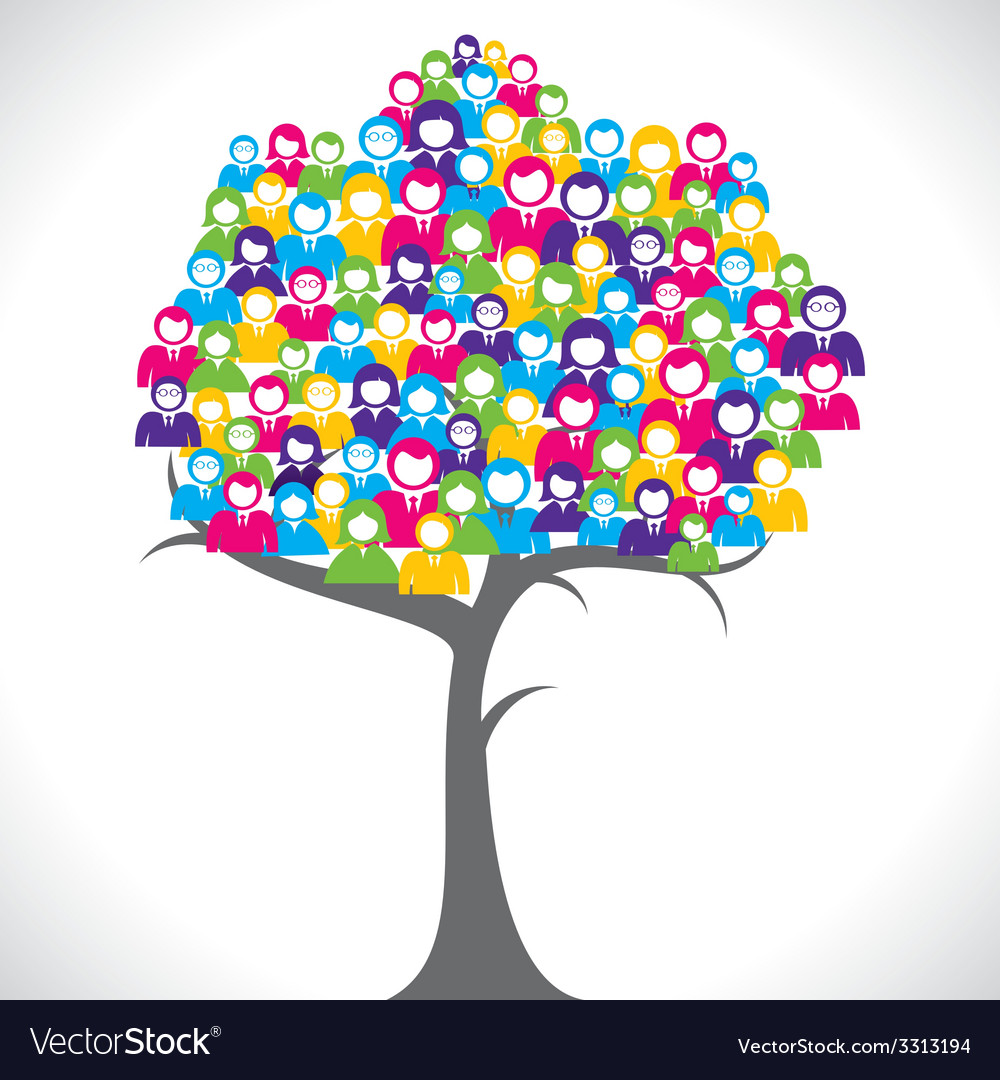 Color businessmen tree vector | Price: 1 Credit (USD $1)