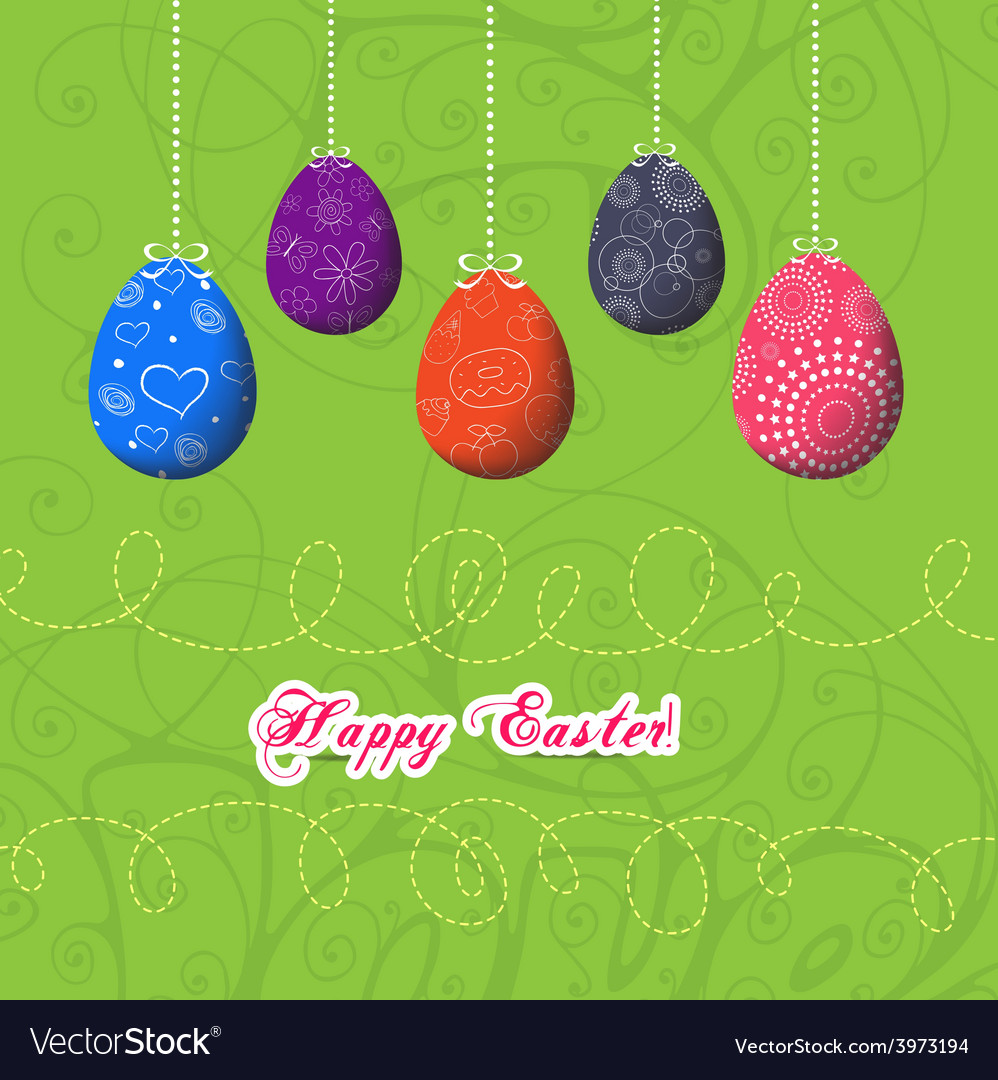 Easter eggs doodle vector | Price: 1 Credit (USD $1)