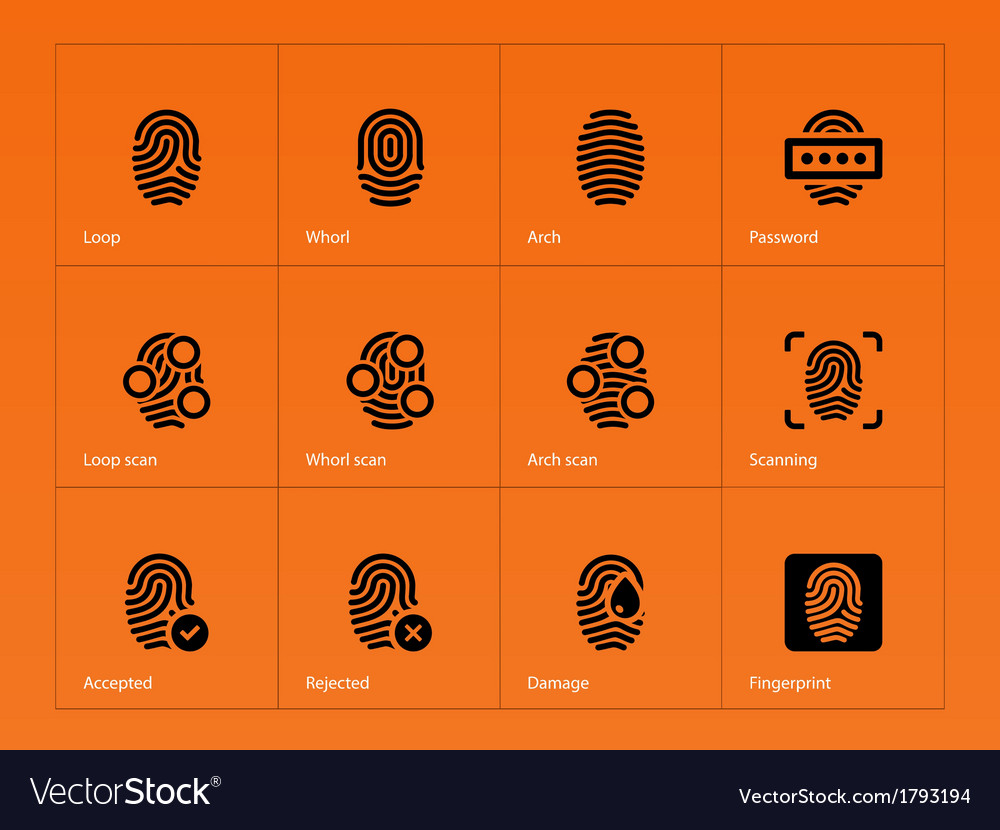Fingerprint icons on orange background vector | Price: 1 Credit (USD $1)