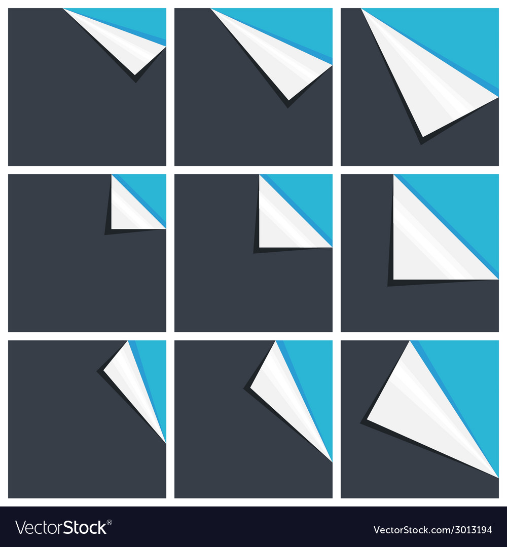 Flat blue set of note paper with curled corner vector | Price: 1 Credit (USD $1)