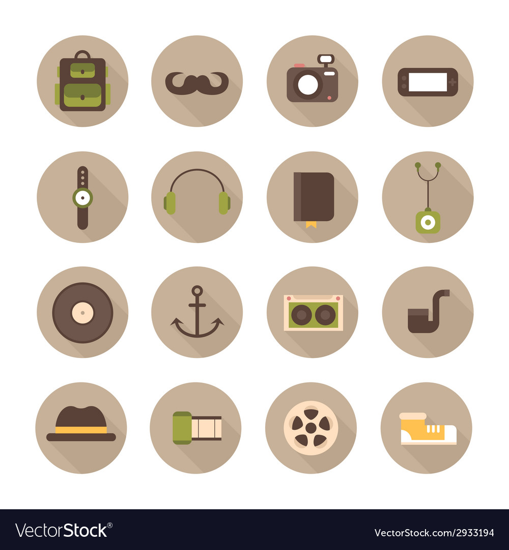 Hipster colorful style elements and characters vector | Price: 1 Credit (USD $1)