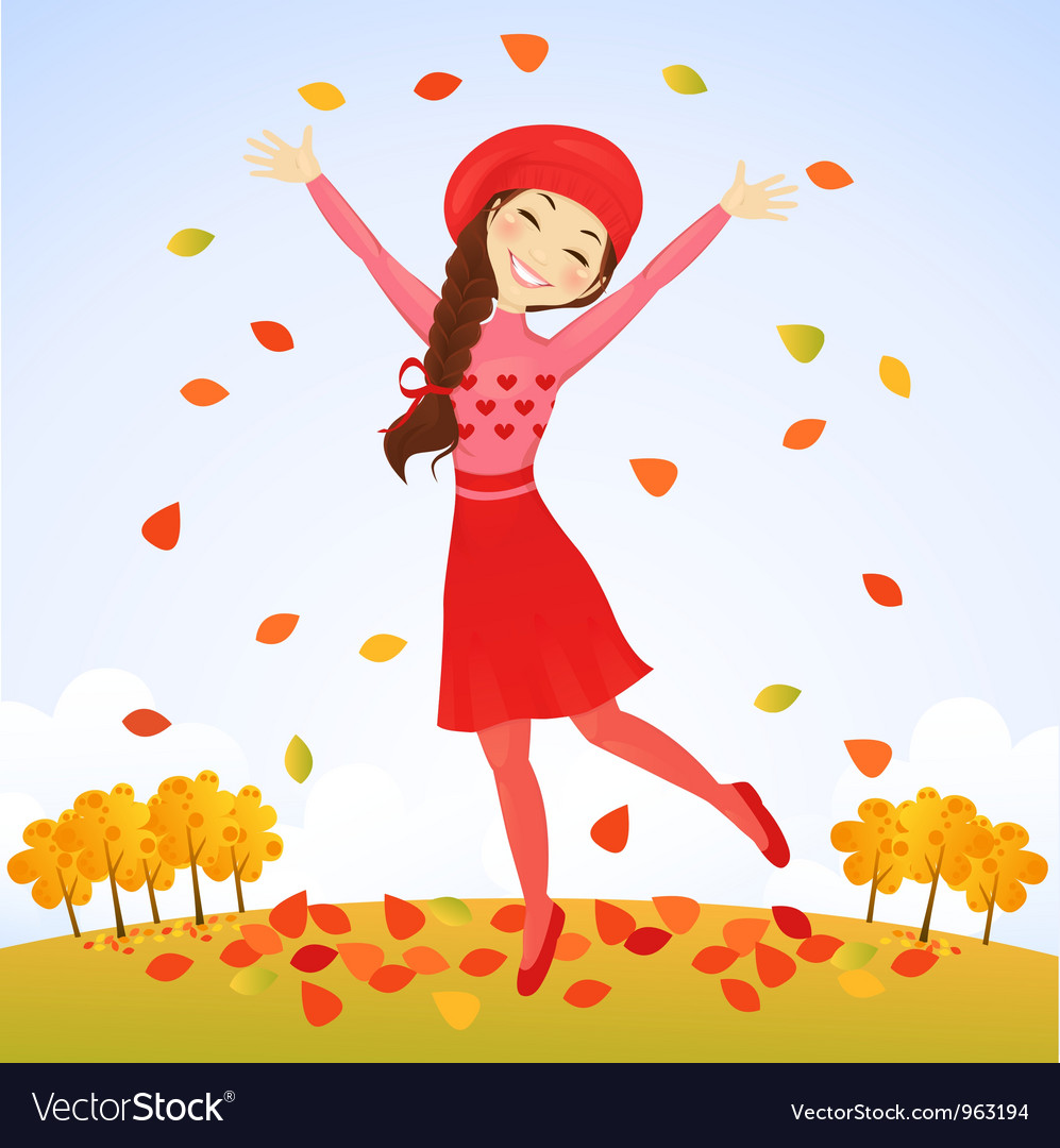 Jumping autumn girl vector | Price: 3 Credit (USD $3)