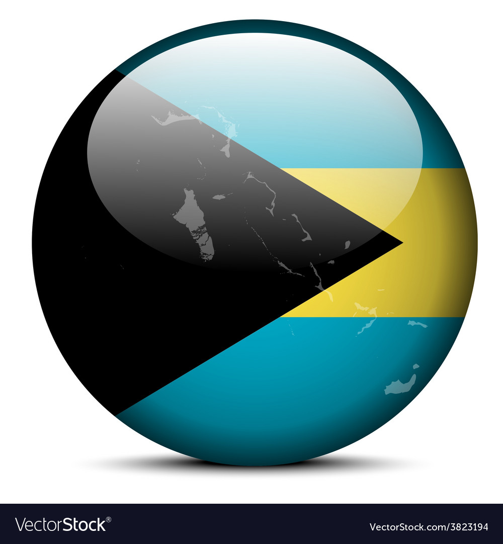 Map on flag button of commonwealth of the bahamas vector | Price: 1 Credit (USD $1)
