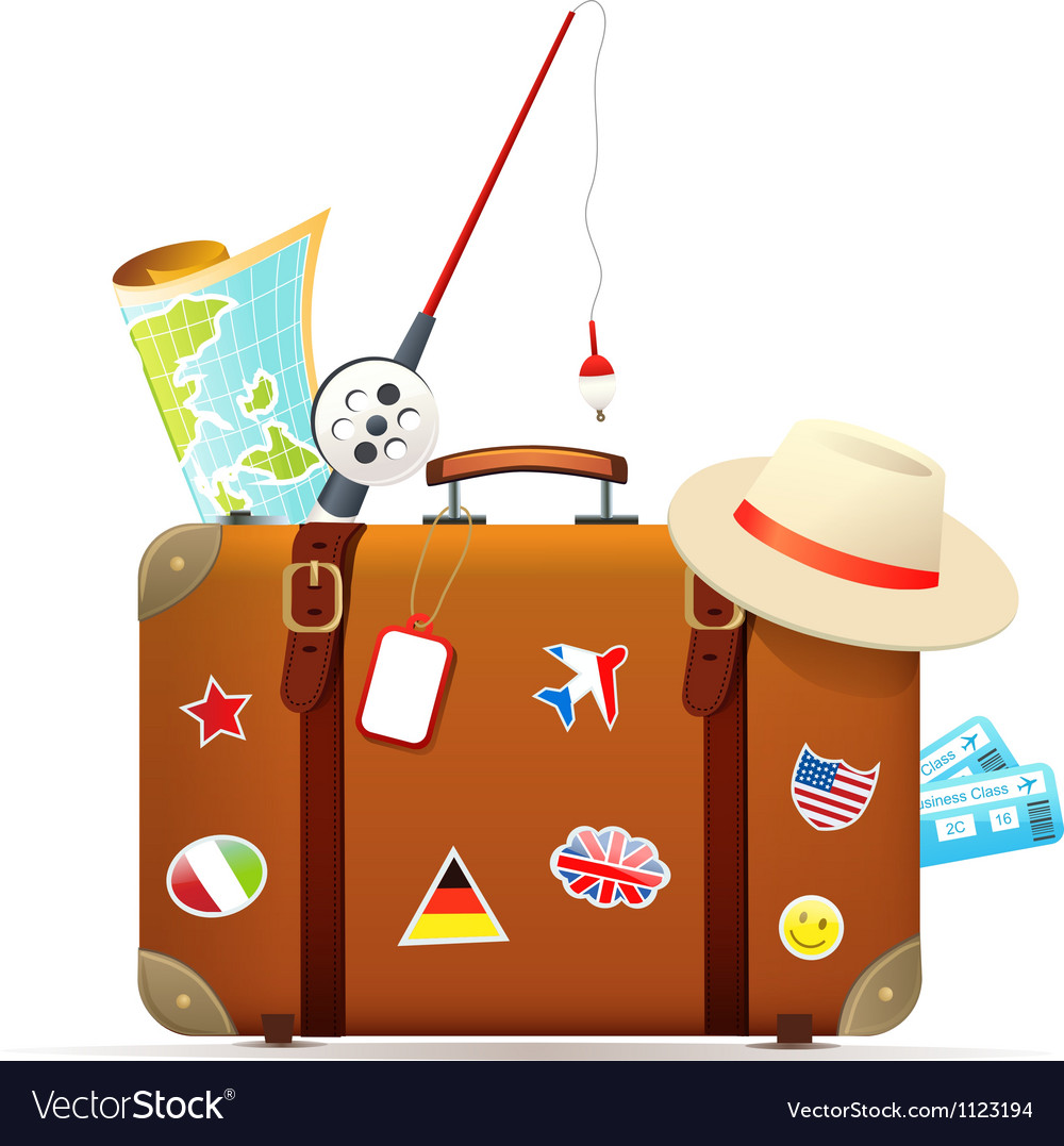 Old travel suitcase with traveling accessories vector | Price: 1 Credit (USD $1)