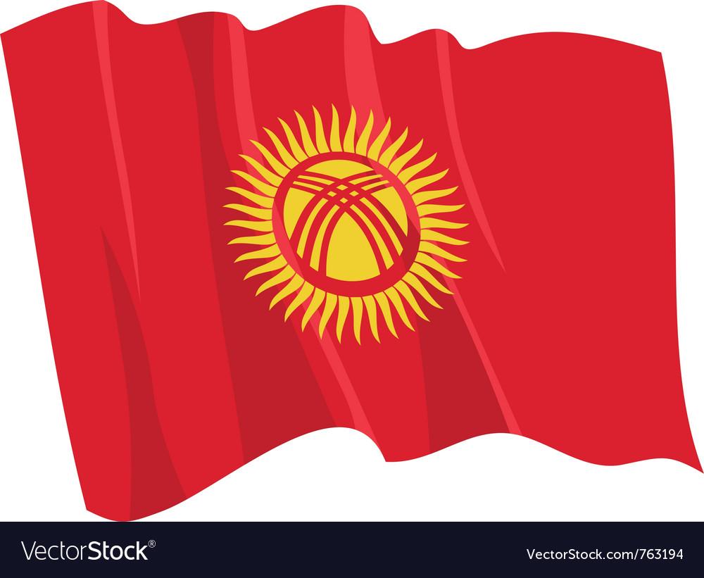 Political waving flag of kyrgyzstan vector | Price: 1 Credit (USD $1)