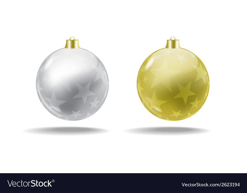 Silver and gold christmas tree balls  isolated vector | Price: 1 Credit (USD $1)