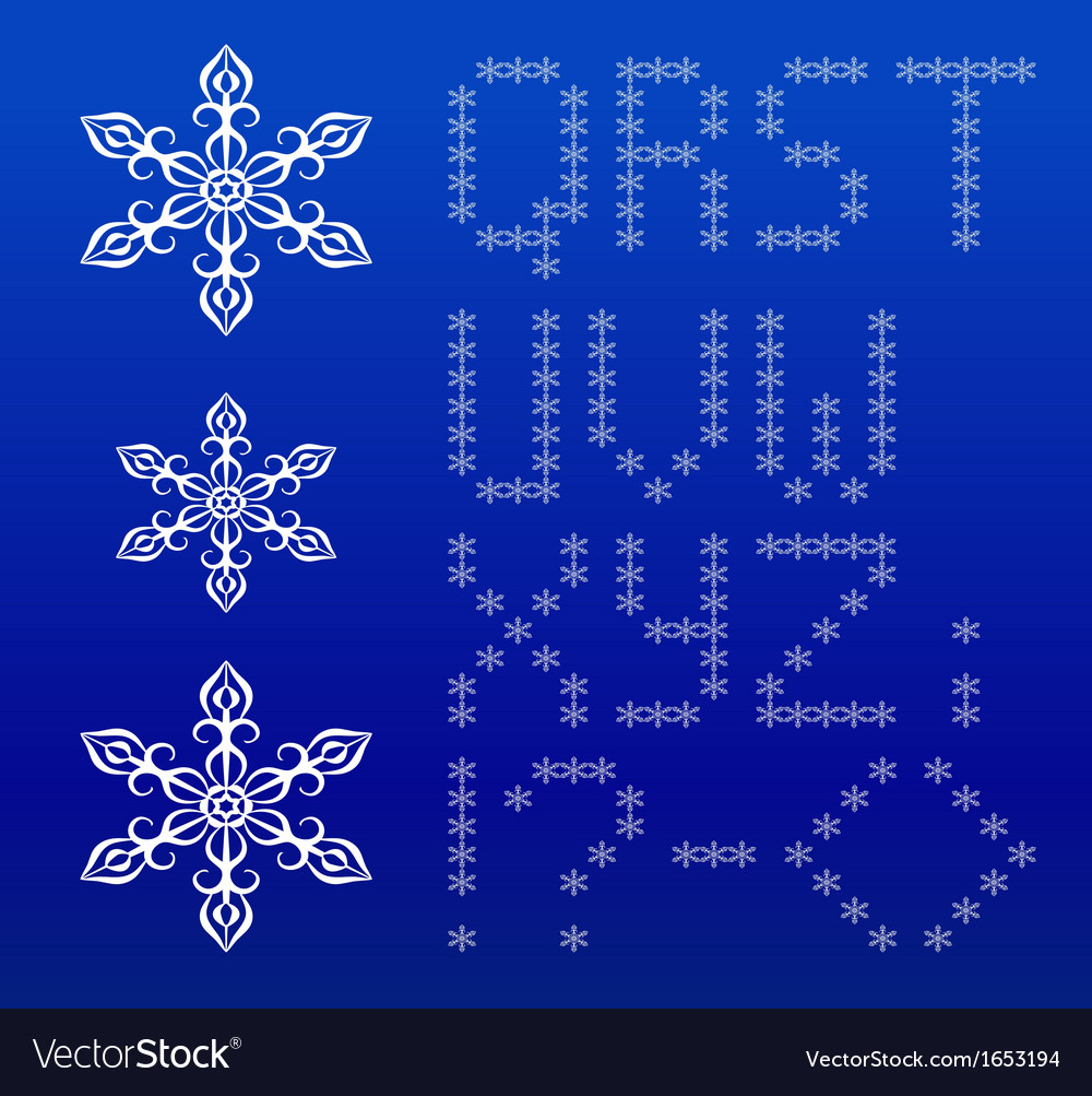 Winter white english alphabet with snowflakes vector | Price: 1 Credit (USD $1)