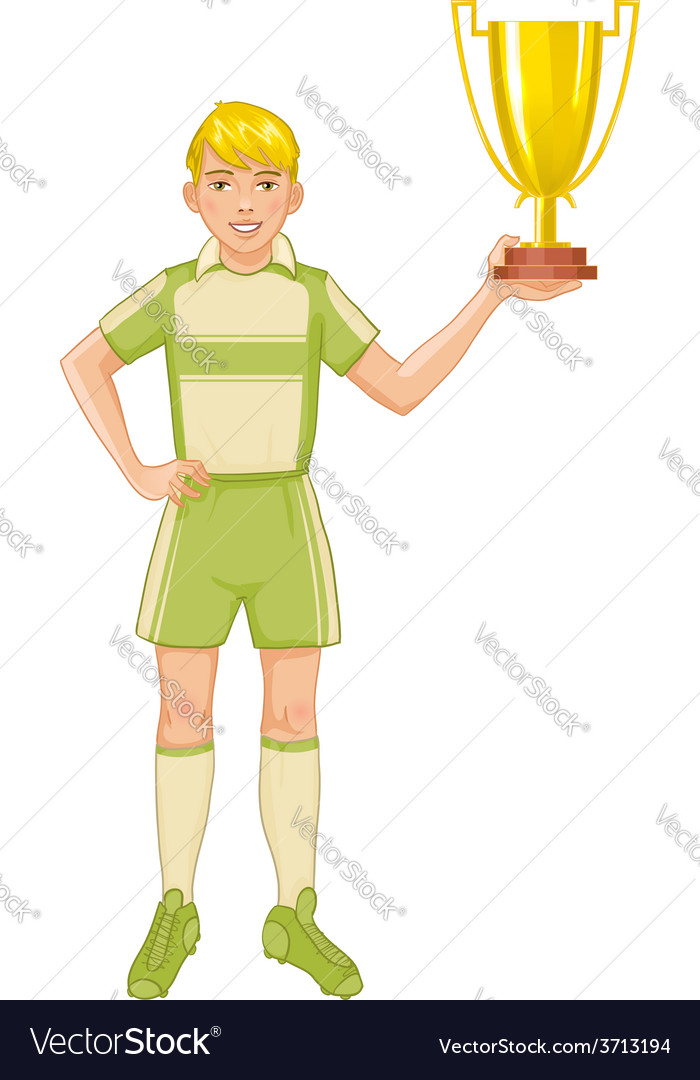 Young footballer in uniform with winner cup vector | Price: 1 Credit (USD $1)