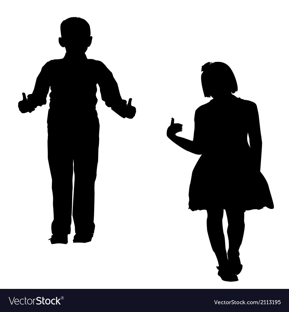 Boy and girl silhouettes vector | Price: 1 Credit (USD $1)