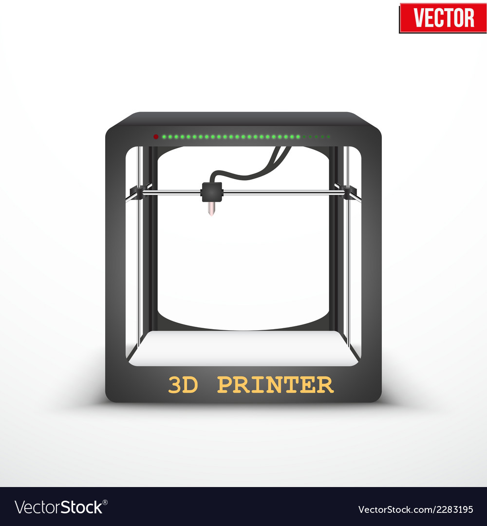 Electronic three dimensional plastic 3d printer vector | Price: 1 Credit (USD $1)