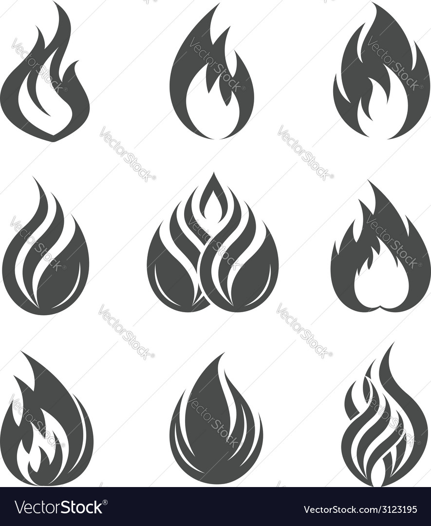Fire icons set vector | Price:  Credit (USD $)