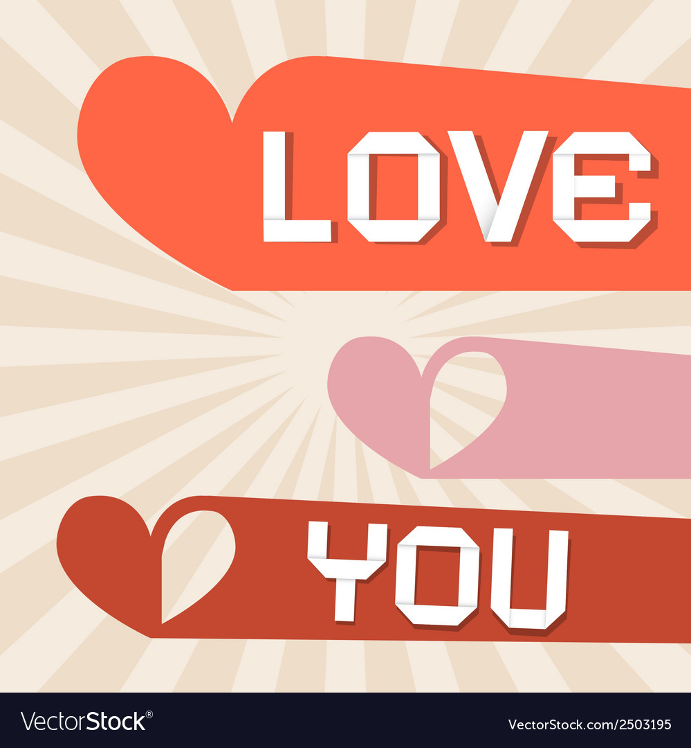 Love you retro paper with hearts vector | Price: 1 Credit (USD $1)
