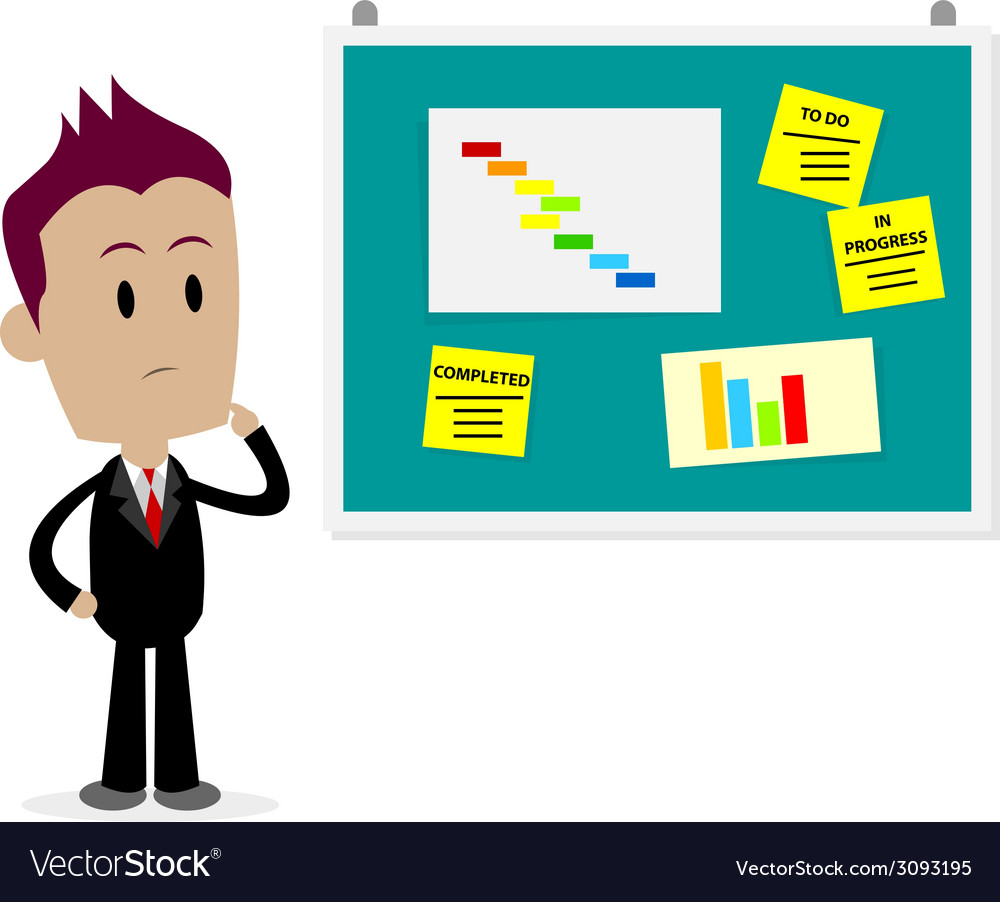 Man looking at office bulletin board vector | Price: 1 Credit (USD $1)