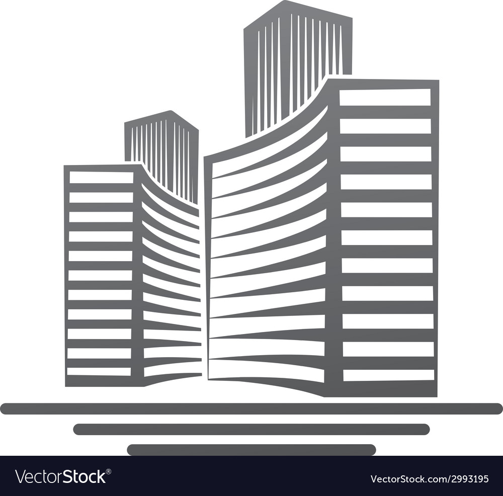 Moderd buildings real estate symbol vector | Price: 1 Credit (USD $1)