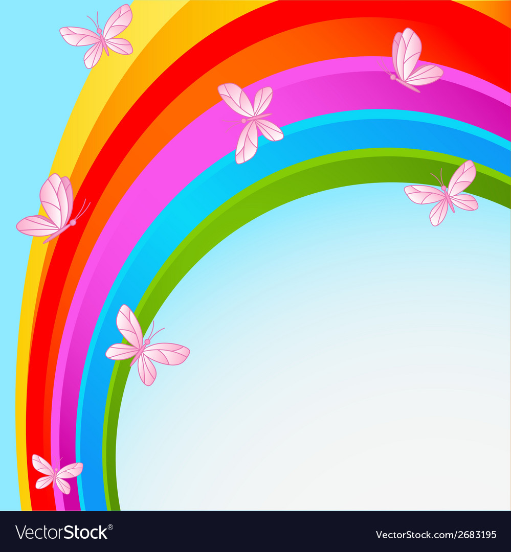 Rainbow sky with butterfly vector | Price: 1 Credit (USD $1)