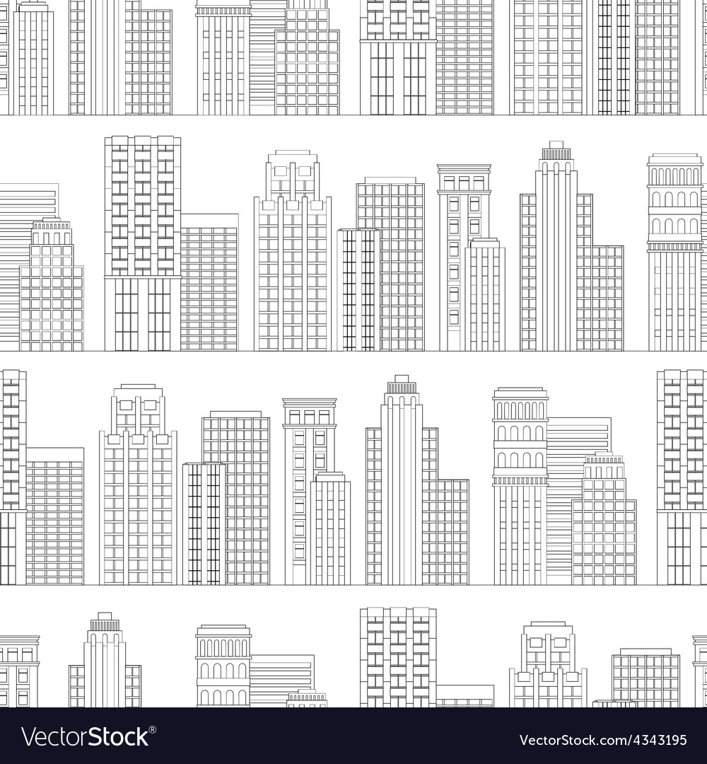 Seamless pattern of line skyscrapers black and vector | Price: 1 Credit (USD $1)