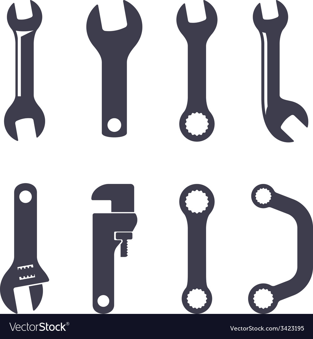 Set icons of spanners vector | Price: 1 Credit (USD $1)