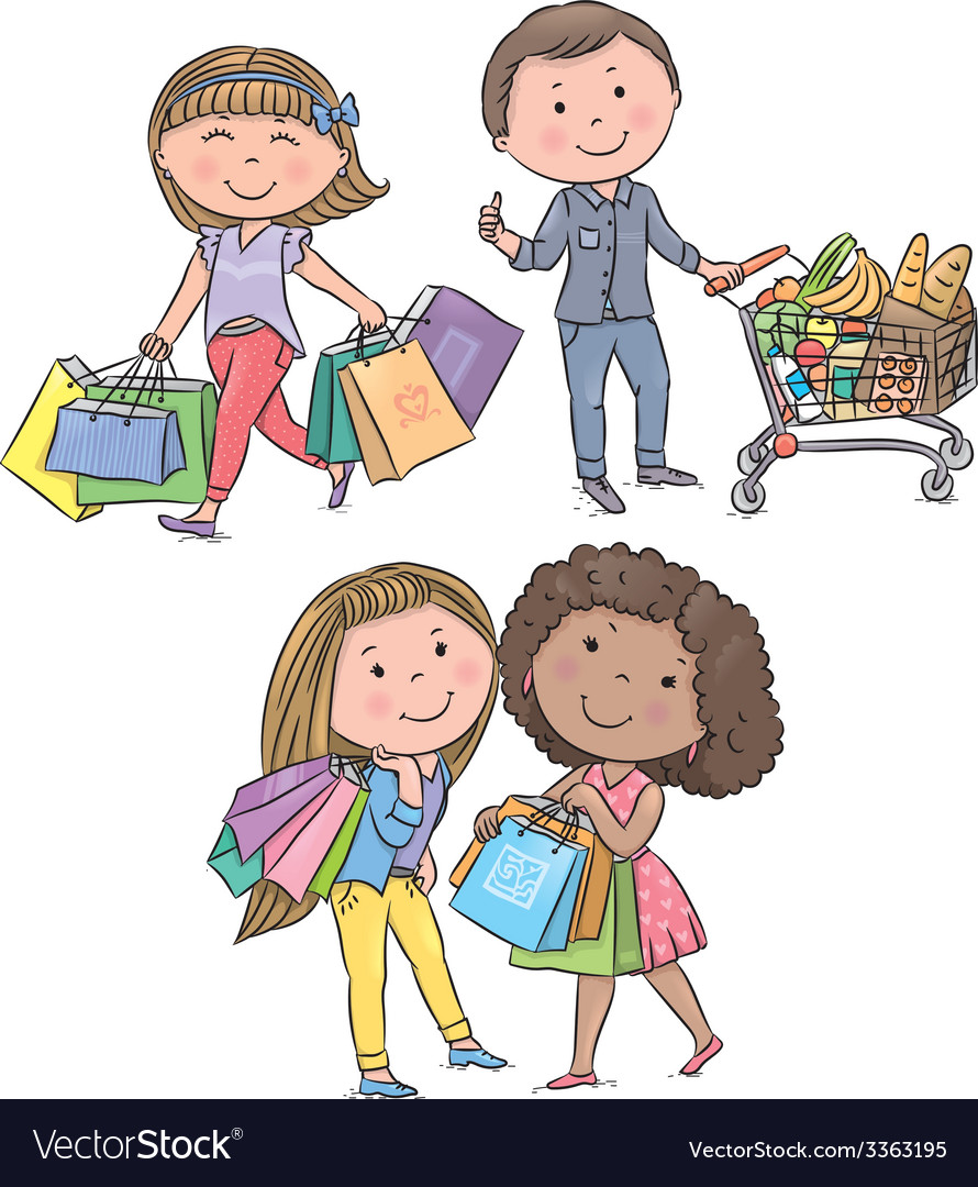 Shopping kids vector | Price: 1 Credit (USD $1)
