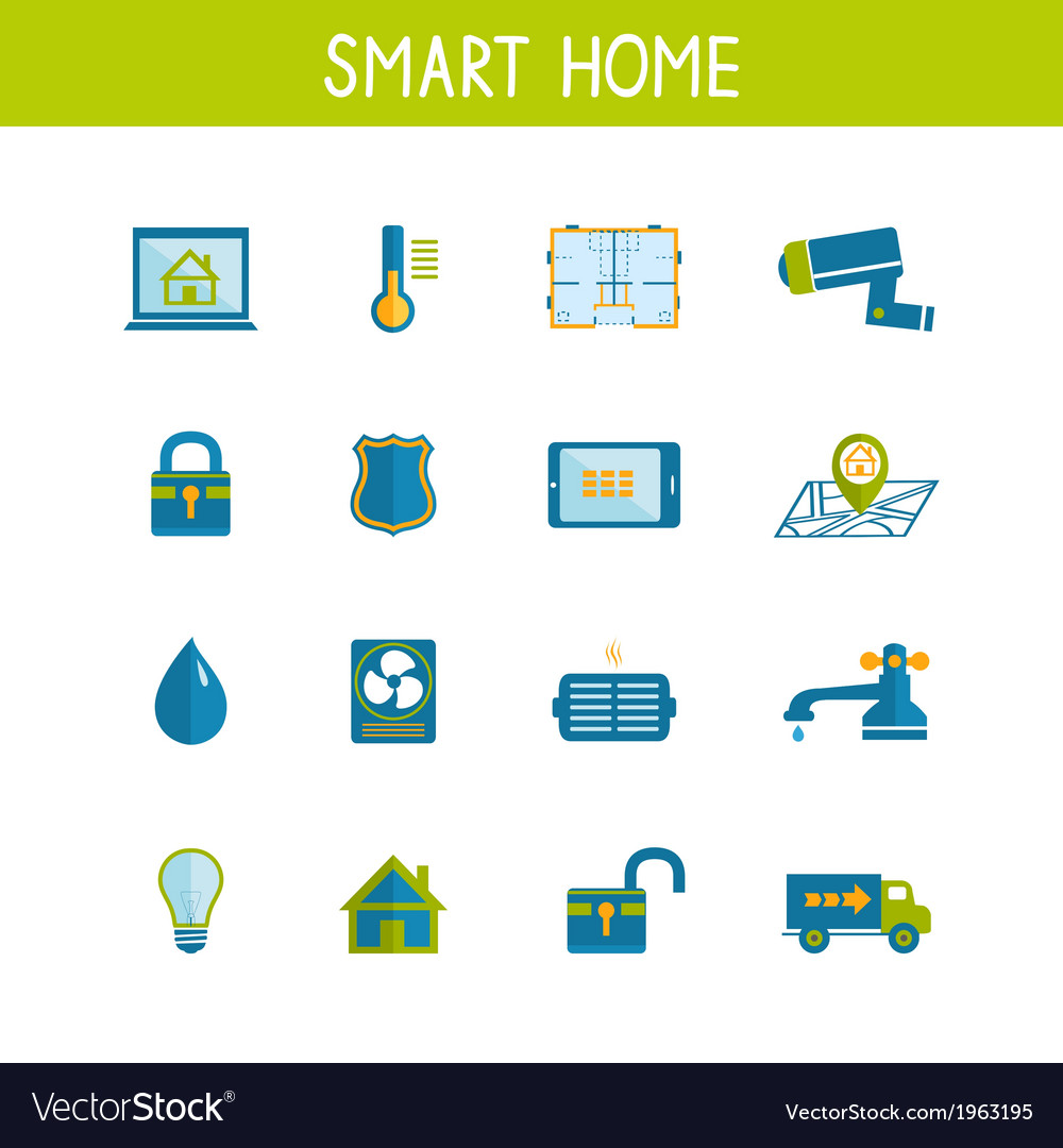 Smart home automation technology icons set vector | Price: 1 Credit (USD $1)