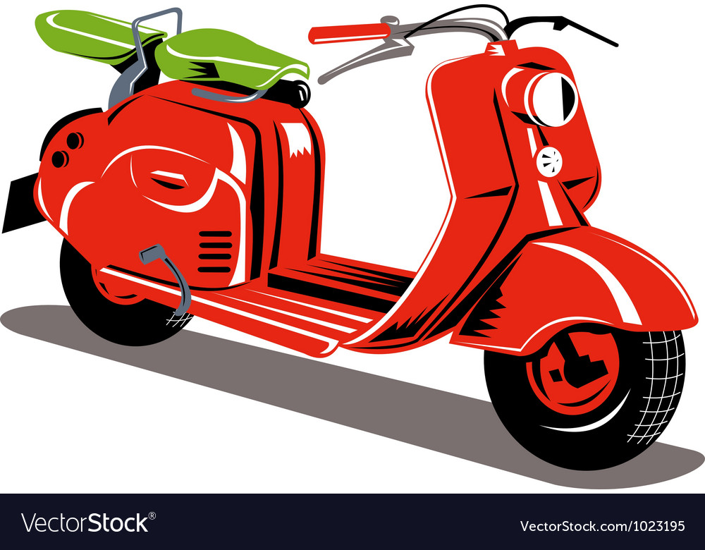 Vintage motor scooter retro vector | Price: 1 Credit (USD $1)