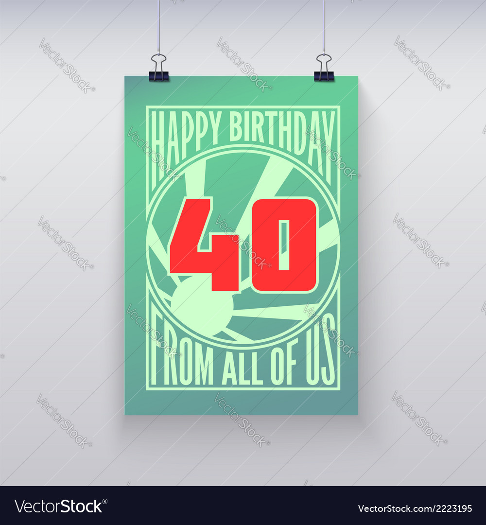 Vintage retro poster happy birthday vector | Price: 1 Credit (USD $1)