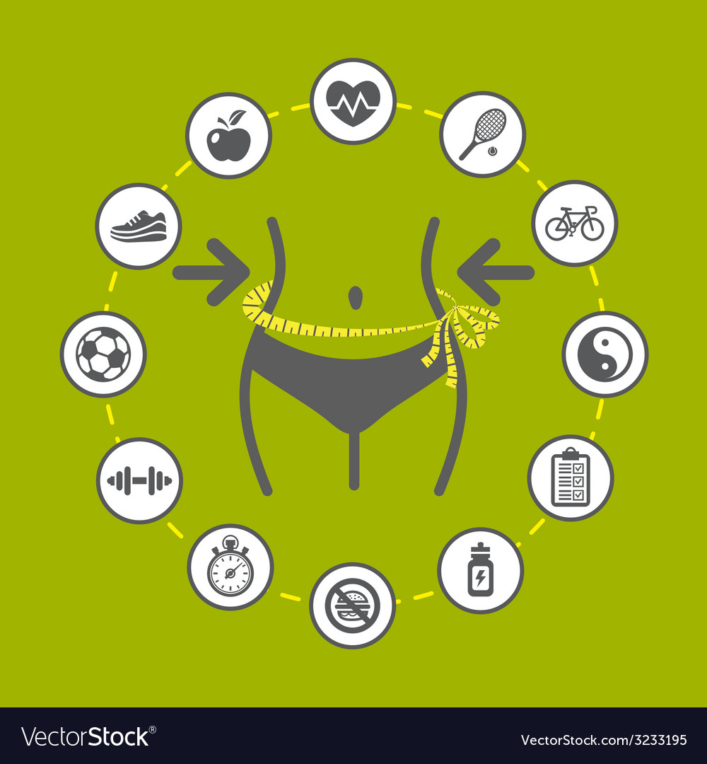Weight loss with health and fitness icons vector   Price: 1 Credit (USD $1)