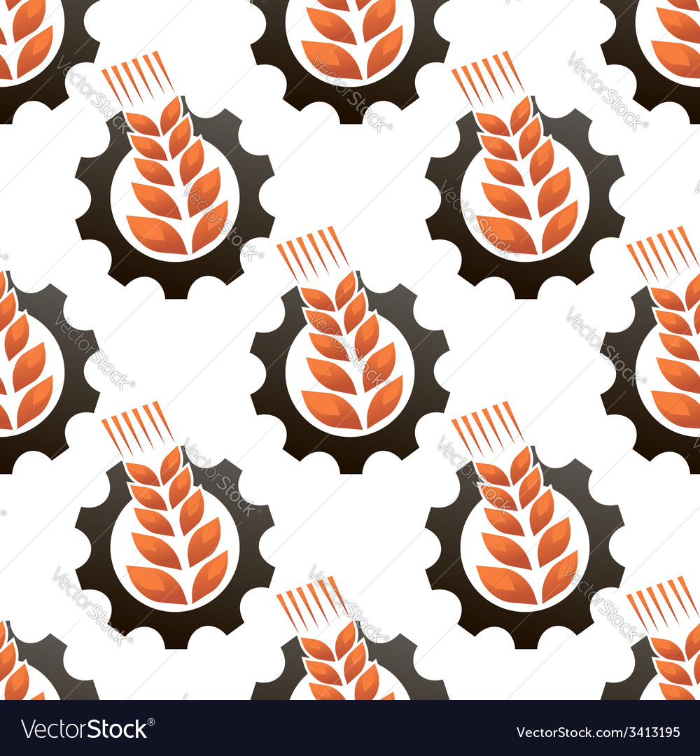 Wheat or barley inside a gear seamless pattern vector | Price: 1 Credit (USD $1)