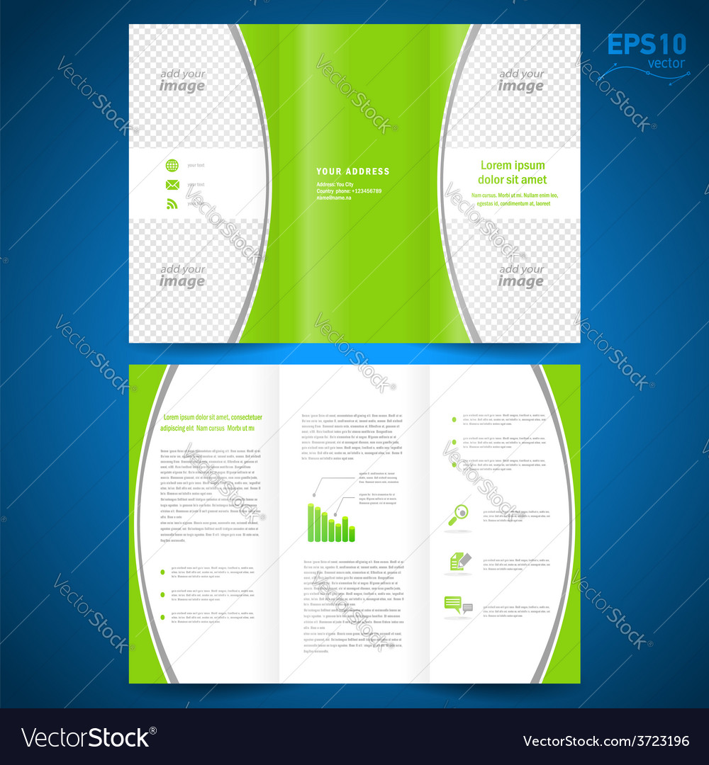Brochure green curve bend line white background vector | Price: 1 Credit (USD $1)