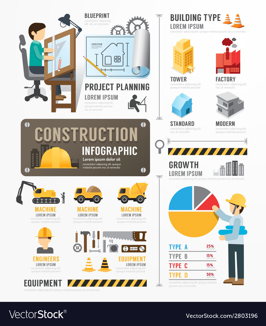 Construction template design infographic vector | Price: 1 Credit (USD $1)