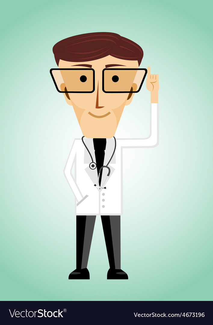 Doctor with glasses poiting index finger up vector | Price: 1 Credit (USD $1)