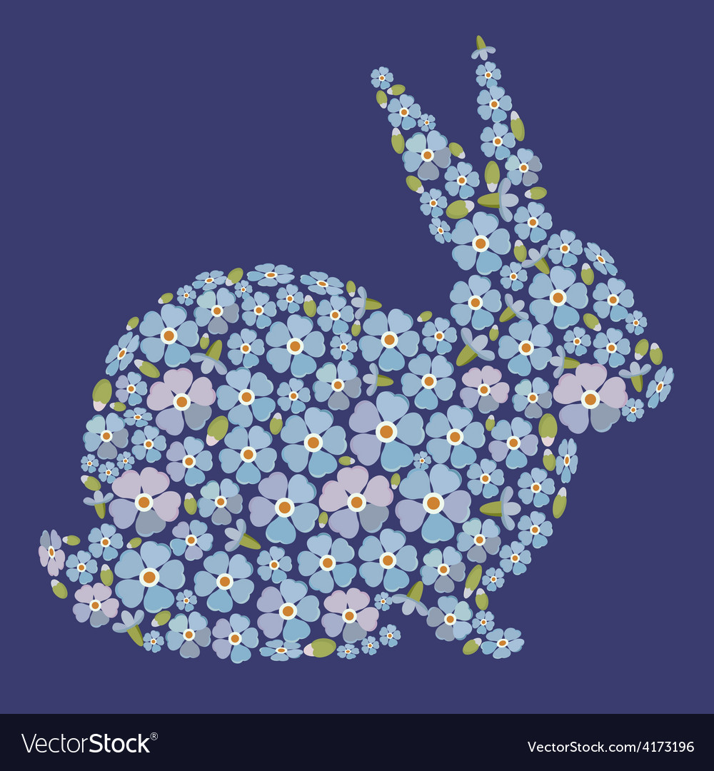 Easter design with bunny from flowers forget me vector | Price: 1 Credit (USD $1)