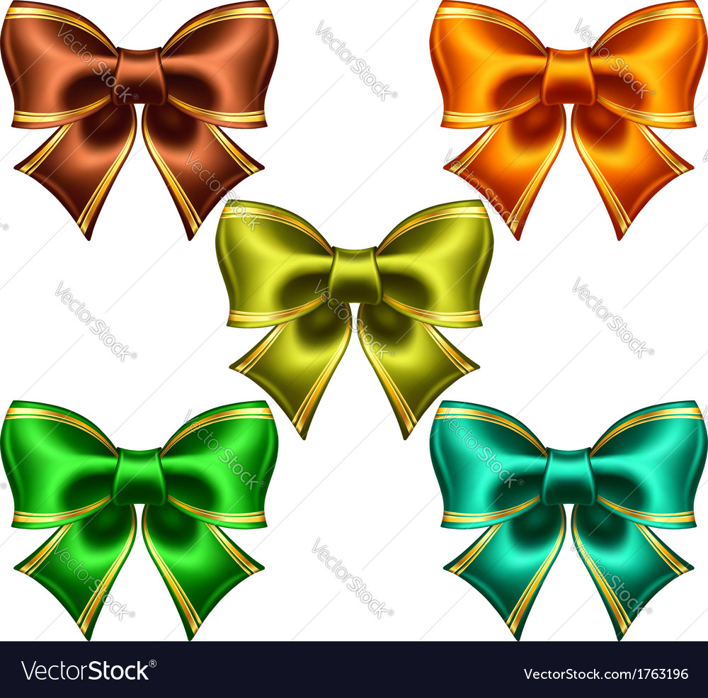 Festive bows with golden edging vector | Price: 1 Credit (USD $1)