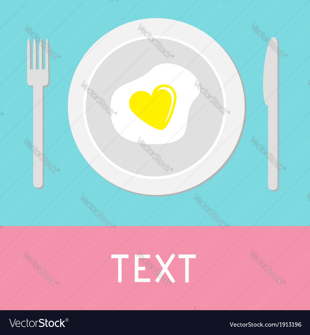 Heart-shaped fried egg card vector | Price: 1 Credit (USD $1)