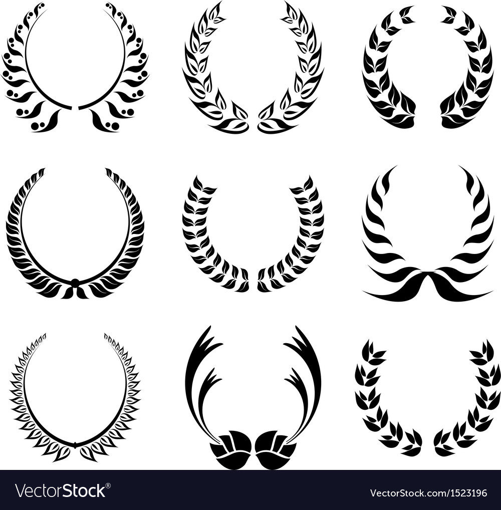 Laureal wreath symbol set vector | Price: 1 Credit (USD $1)