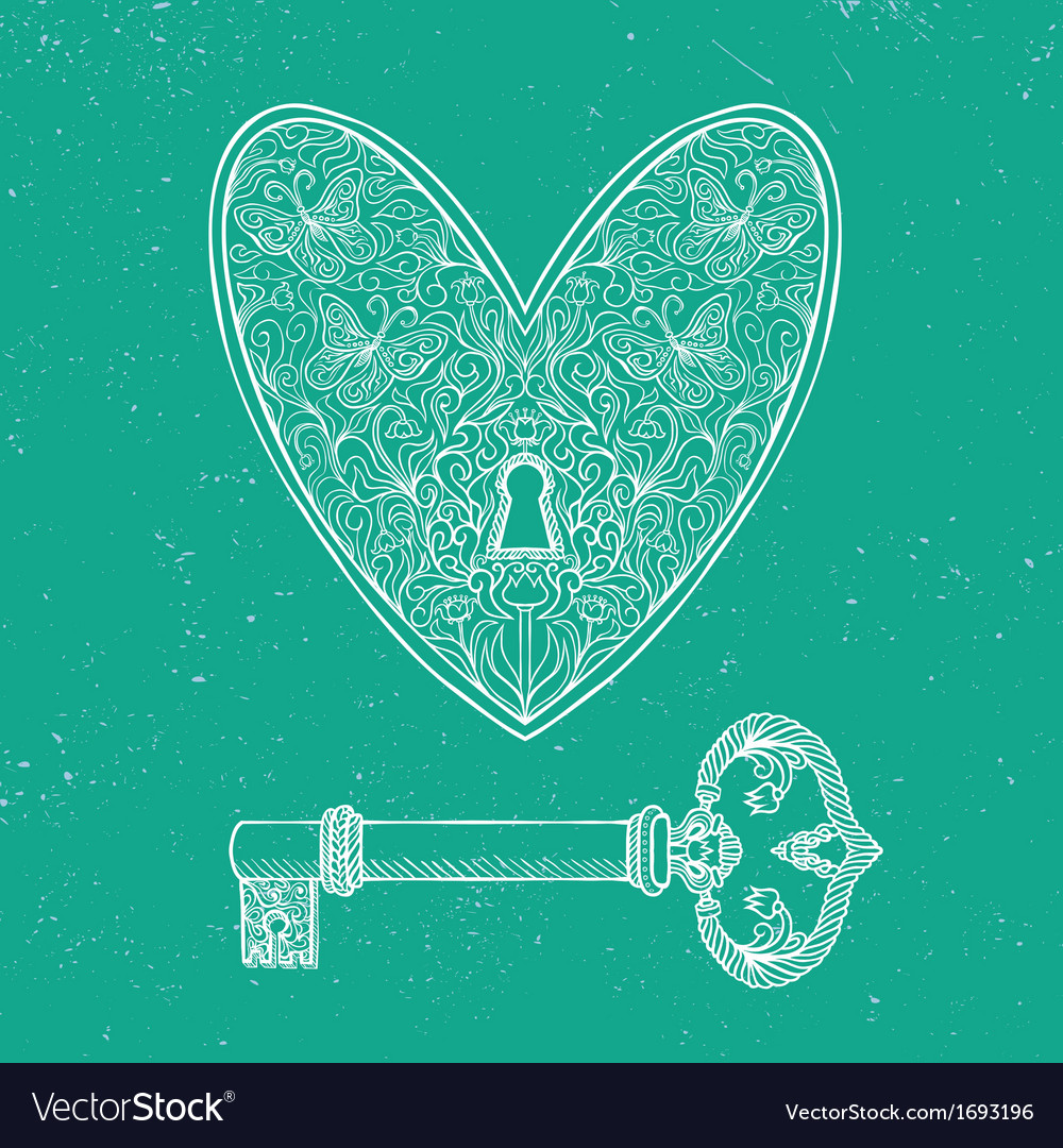 Locked heart and key on emerald green background vector | Price: 1 Credit (USD $1)