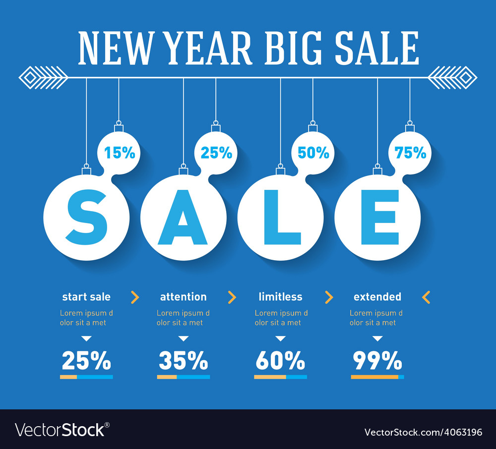 New year sale time line graph social activity vector | Price: 1 Credit (USD $1)