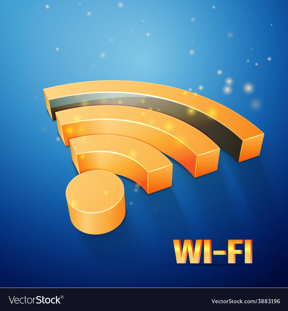 Orange wi-fi symbol on blue background vector | Price: 1 Credit (USD $1)