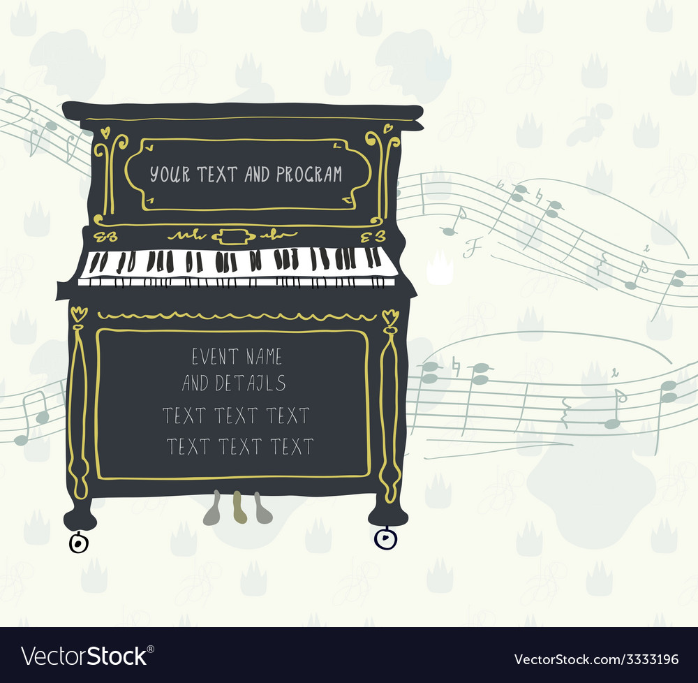 Poster for the piano concert with melody vector | Price: 1 Credit (USD $1)