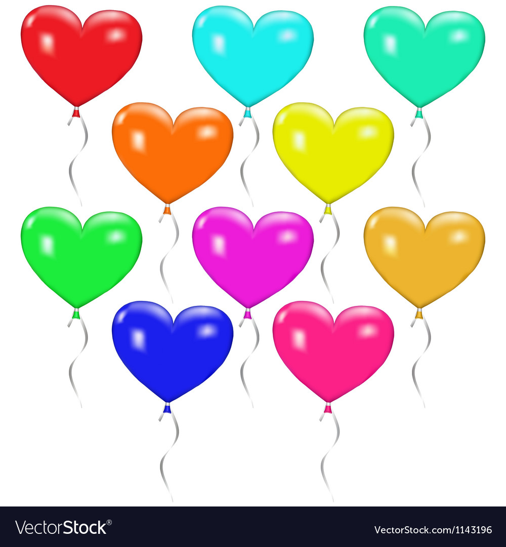 Set of colorful balloons in the form of heart vector | Price: 1 Credit (USD $1)